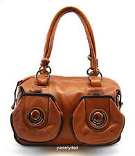 MIMCO MOD MARBLE BUTTON ZIP TOP LEATHER BAG IN TAN ESPRESSO BNWT RRP$450