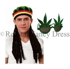 ADULT JAMAICAN RASTA HAT WITH DREADLOCKS & GANJA GLASSES BOB MARLEY FANCY DRESS