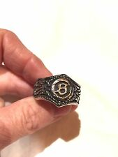 Large Silver Stainless Steel S Crest Size 12 Men's Ring