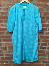 Vintage 60s 70s Asian Style Dress Womens Turquoise Floral Cheongsam (742)