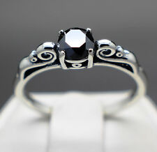 .62cts 5.55mm Natural Jet Black Diamond Ring, Diamond is Certified & $310 Value