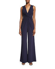 Halston Heritage Sleeveless Deep V-Neck crepe Navy Blue 14 Dress jumpsuit New