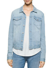 Calvin Klein Jeans Women's Blue Faded Sky Trucker Cropped Jacket Sz M NWT $98