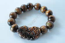 Feng Shui Protection Nature Tiger Eye Bead Dragon Pi Xiu Pi Yao Lucky Bracelet