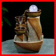 Indoor Polyresin Water Fountain Feature LED Tabletop Home Decor WF1101 NEW