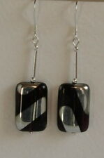 UNIQUE Unusual STERLING SILVER 925 EARRINGS Purple Black CZECH GLASS Hand Made