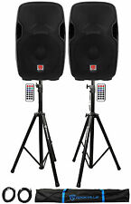 "2) Rockville BPA15 15"" Powered 800W DJ PA Speakers w Bluetooth+Stands+Cables+Bag"