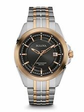 Bulova Men's 98B268 Precisionist Quartz Black Dial Two Tone Bracelet Watch
