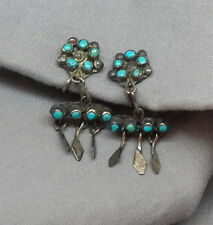 intage Native American Indian Silver Turquoise Snake Eye Earrings w Dangles