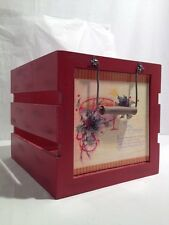 Red Distressed Christmas Wood Crate Box w/Handles - New Creative Interprise(A32)