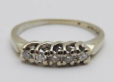 VINTAGE Solid 14k White Gold / Diamonds Ladies Deco Ring Size 4.5