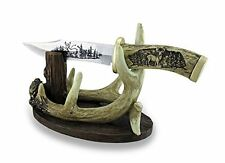 Carved Look Handle Decorative Deer Knife w/Antler Display Stand, New, Free Shipp