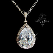 925 Sterling Silver Swarovski Crystal Clear Teardrop Necklace Wedding Bride