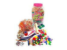 CHILDRENS PINK MEGA CRAFT JAR GIANT ART SET POM POMS BEADS PAPER FOAM LETTERS