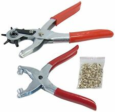 LEATHER PUNCH & EYELET PLIER SET WITH 100pc EYELETS Hole Grip Material Rivet