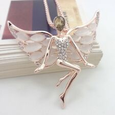 Fashion Gold Plated angel wings opal pendant crystal necklace AA21