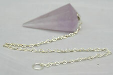 "Amethyst Vogel Type Crystal Pendulum on 7 1/2"" Silver Plated Chain from Brazil"
