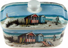 Vintage Beach Huts / Coastal Scene Fine China Decorative Butter Dish