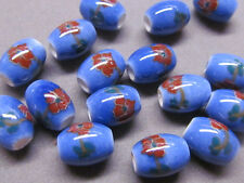 10 Handmade Blue With Red Flower 11x8mm Porcelain Beads  (B22E)