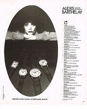 PUBLICITE ADVERTISING 044  1978  les montres ALEXIS BARTHELAY à quartz