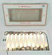 Vintage Mr Christmas Icicle Lights 20 White Clear String Lites Indoor Outdoor