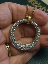 """JOAN RIVERS Tapered Circular Pave Crystal Pendant Necklace Gold Tone 24"""" L Chain"""
