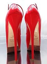 NEU 1969 ITALY Echtleder Rot All Leather Plateau Sexy High Heel E49 Pumps Schuhe