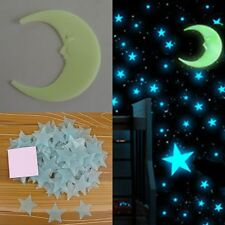 DIY 1Moon & 100pcs 3D Glow In The Dark Light Facny Blue Stars Wall Stickers PVC