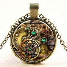 Vintage Gearwheel Cabochon bronze Glass Chain Pendant Necklace Jewelry New