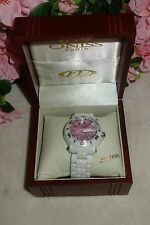 Oniss Paris Oversized HI TECH white Ceramic pink dial swiss Watch NEW