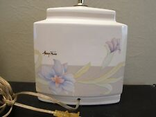 Signed MURRAY FEISS White Ceramic Vintage Table Lamp Oriental Floral Design 12""
