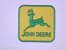 FARMING TRACTOR SEW ON / IRON ON PATCH:- JOHN DEARE (a) GREEN LEAPING DEER