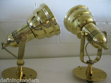 Nessen MACHINE AGE American MODERN ART DECO Nautical BRASS Sconces Wall lamps pr