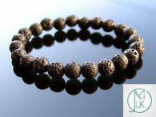 Lava Rock Stone Natural Gemstone Bracelet 7-8'' Elasticated Healing Stone Chakra