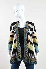 M Missoni Black Multicolor Zig Zag Knit Open Cardigan SZ 40