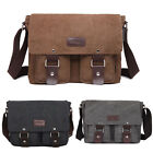 Men Vintage Canvas Leather Satchel School Military Shoulder Laptop Messenger Bag