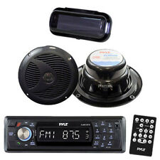Black In Dash Marine Yacht SD USB Player/ Wireless Bluetooth /2 Speakers + Cover