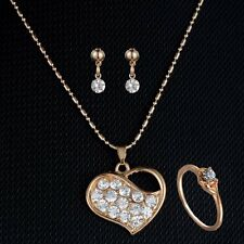 Heart Crystal Wedding Bridal Gold Pendant Necklace Earring Ring Set Jewelry Gift