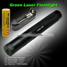 G301 Green Lazer Laser Pointer Pen 532nm+ 18650 Rechargeable Battery+ Charger