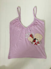 MANGO LILAC STRAPPY VEST TOP WITH SEQUIN FLORAL DESIGN - SMALL
