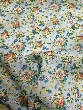 4 Metres Sky Blue with Red Flowers 100% Cotton Lawn Fabric