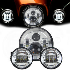 """Motorcycle 4.5 inch Harley Davidson LED Fog Light +7"""" Round Projector Head Lamp"""