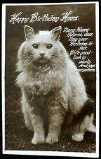OLD POSTCARD OF A CAT - HAPPY BIRTHDAY HOURS