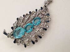 Antique Crown Trifari Fur Clip Book Piece Elegant ART DECO Aquamarine Crystals!