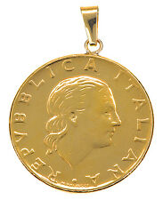 VicenzaGold Italian 200 Lire with 14K Yellow Gold Bail Pendant