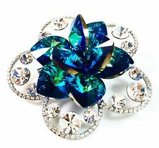 USA BROOCH Swarovski ELMT Crystal PIN fashion Wedding Flower Gold plated AB Blue