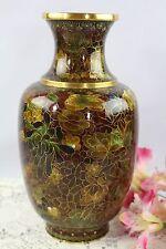 """Oriental JingFa Beijing Enamel Cloisonné Vase Browns/Golds 10 1/2"""""""