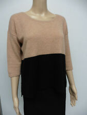 PURE COLLECTION BLACK / CARAMEL PURE CASHMERE JUMPER SIZE S 10 IMMACULATE APR27R