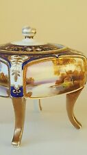 Noritake hand painted 4 legged dressing table  casket with lid c1920s VGC