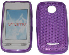 For Nokia Asha 311 / 3110 Pattern Soft Gel Case Cover Protector Pouch Purple New